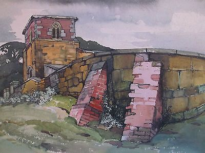 #Watercolour painting by #frederick #george wills 1901-1993 r.i.church and ground,  View more on the LINK: http://www.zeppy.io/product/gb/2/141905732551/