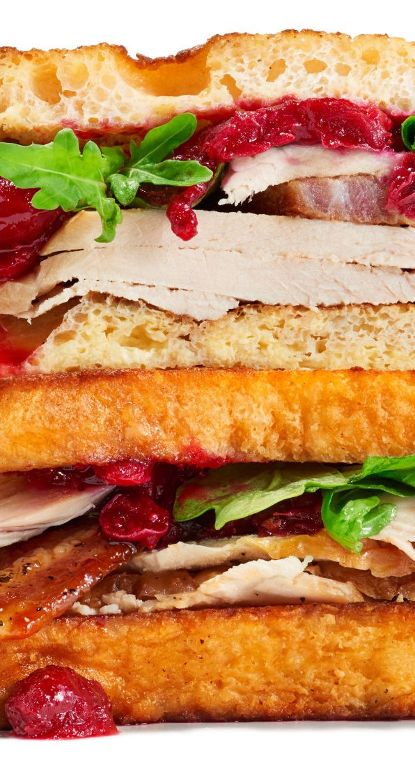 French toast turkey sandwich: Sweet, savory, and perfect for Thanksgiving leftovers.