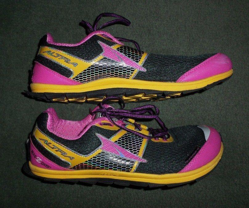 Women's Pink, Yellow & Black ALTRA GAITER TRAP Athletic Running Shoes, Size 11 #ALTRAZERODROPGAITERTRAPNRS #AthleticRunningCrossTrainingRuggedSoles