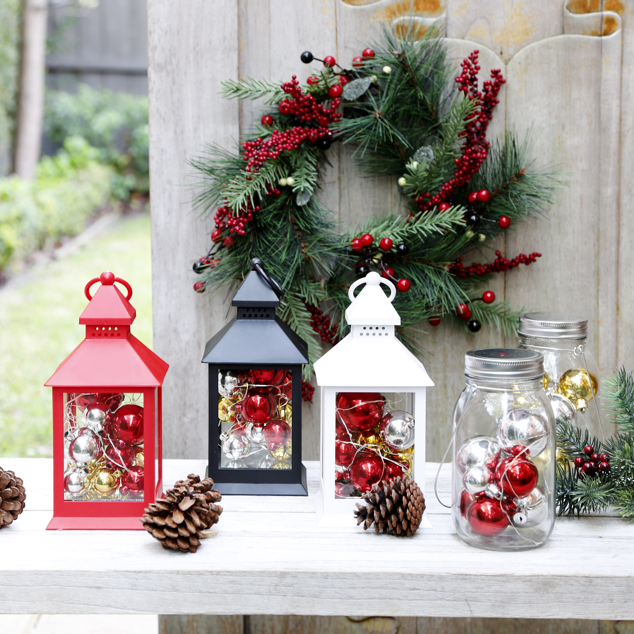 Put Some Christmas Decorations In Jars Or Lanterns To Make
