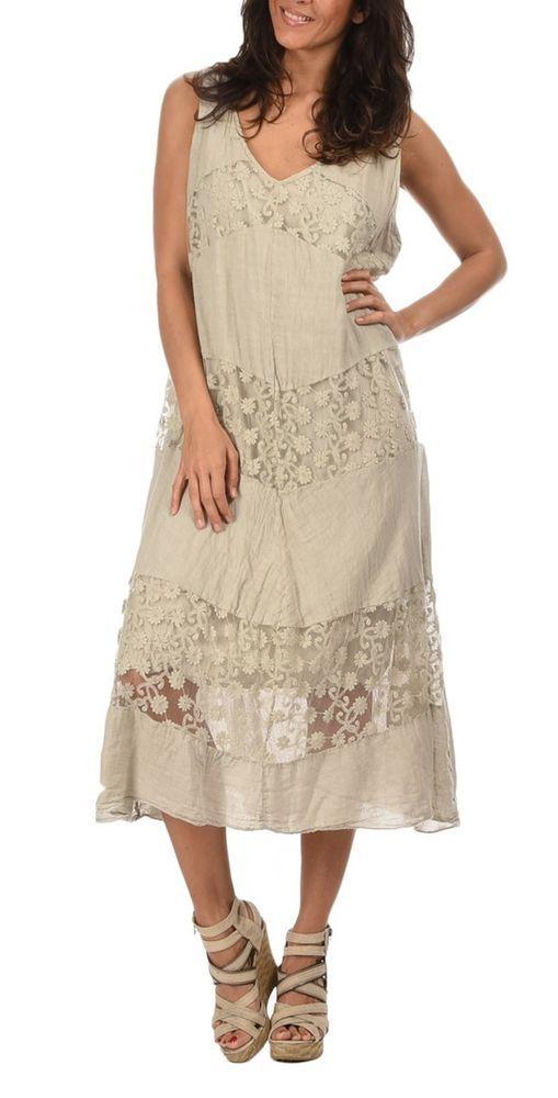 Couleur Lin Linen Maxi Dress w Lace, BOHO,layers with Magnolia ...