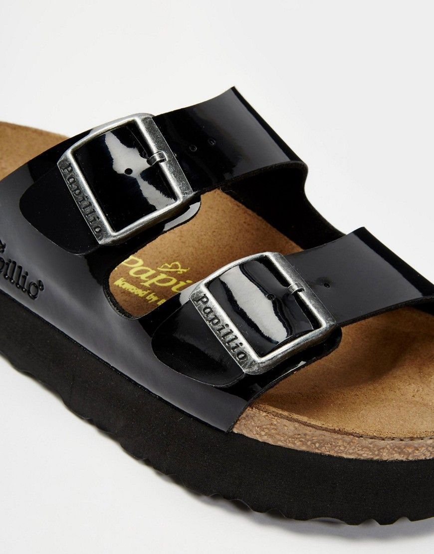 Image 4 ofBirkenstock Arizona Platform Patent Black Slider Flat Sandals