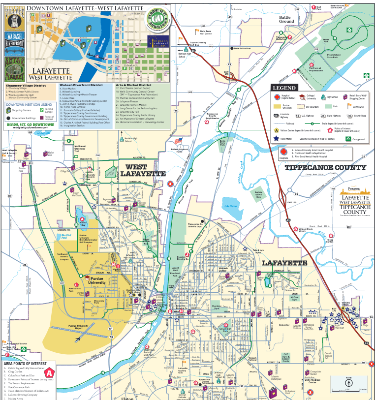 LafayetteWest Lafayette Map Home of Purdue Things To Do