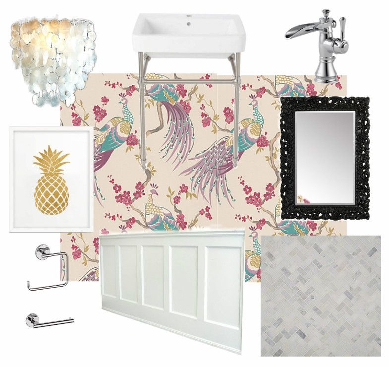 Pretty Powder Room Plans With Bird Wallpaper And Simple