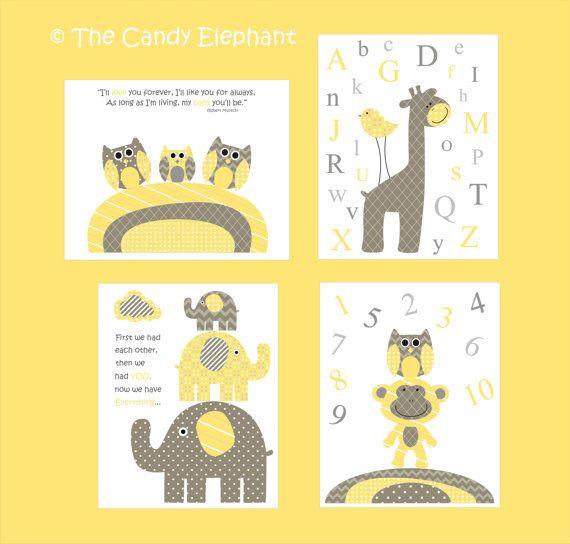 Newborn Nursery Gender Neutral -Yellow and Grey - Elephants, Giraffe ...