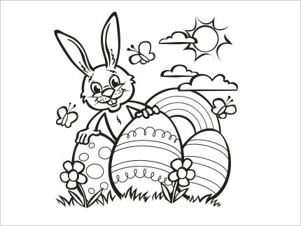 Easter Bunny with Eggs Colouring In