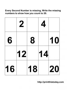 Writing the missing even numbers Maths worksheet from 1-20 | Math ...