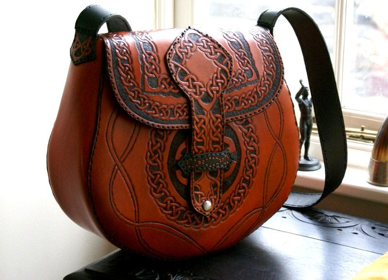 Vintage Purse Hippie Hand-Tooled Painted Leather Ladies Handbag ...