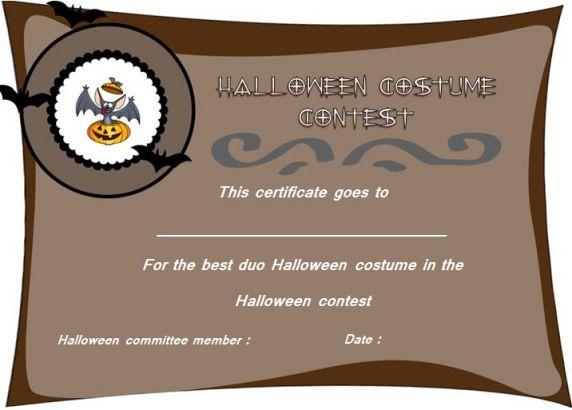 Best Duo Halloween Costume Certificate Halloween Costume