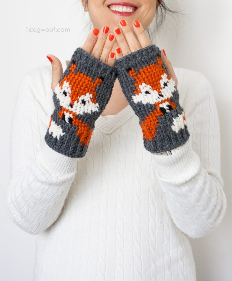 Fox Fingerless Gloves Crochet Pattern | Guantes, Tejido y Accesorios ...