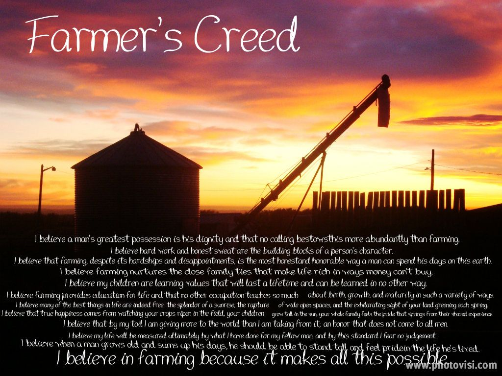 Ag Quote Farmer's Creed  Ag Inspiration  Pinterest  Farming Farming