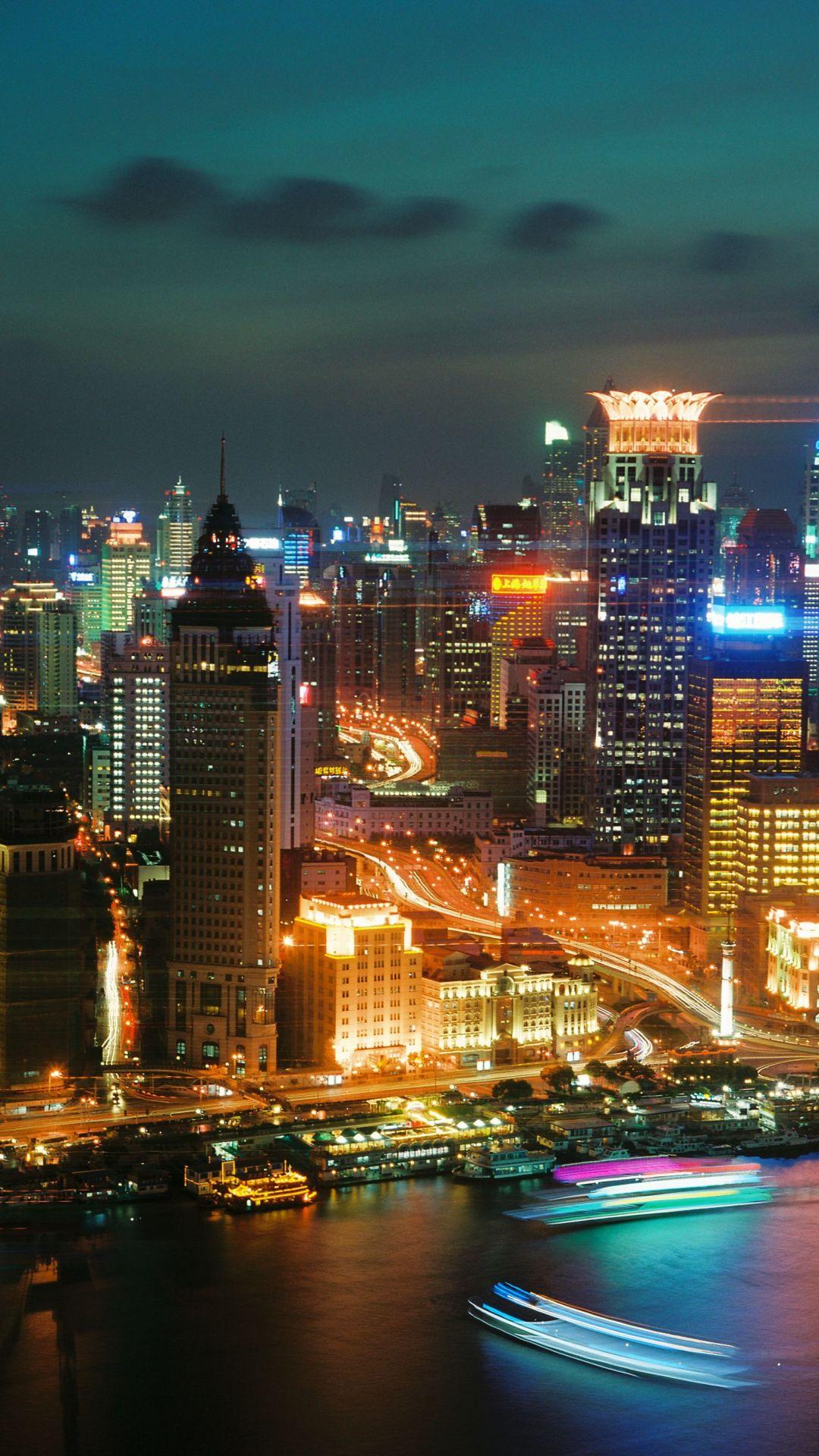 Shanghai Skyscrapers Night City Top View