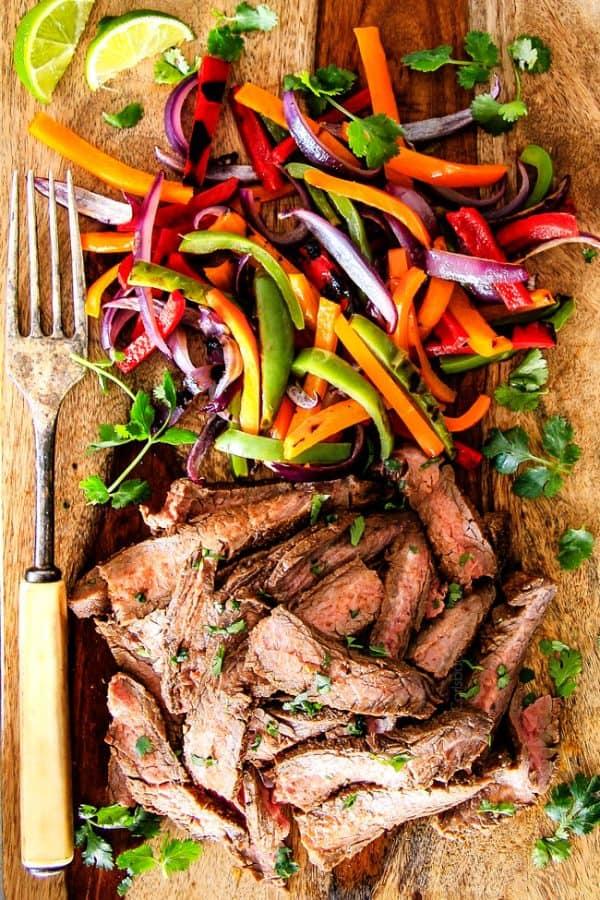 Steak Fajitas with the BEST marinade
