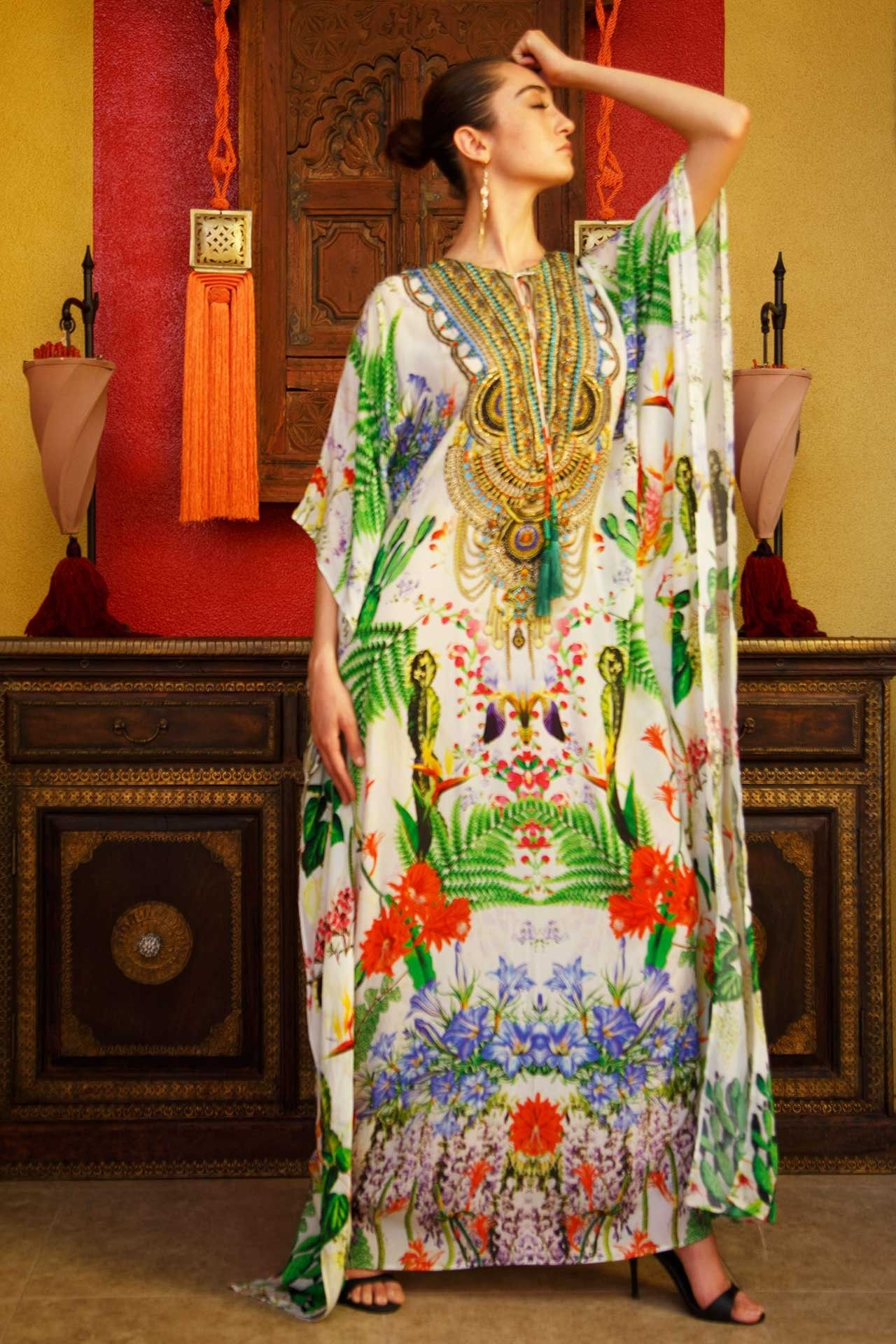 ac1d66344 White & Green Dress | Printed Kaftans Online | Up to 50% Off - Shahida  Parides®