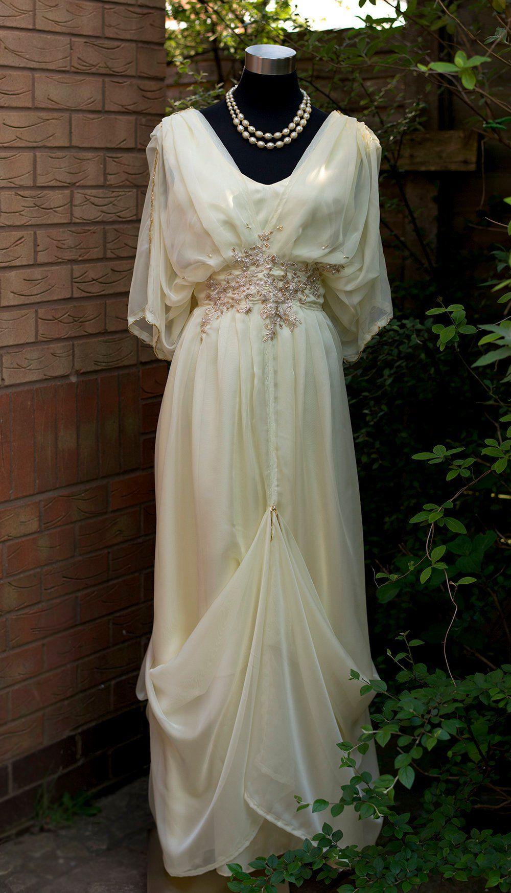 edwardian wedding dress blue