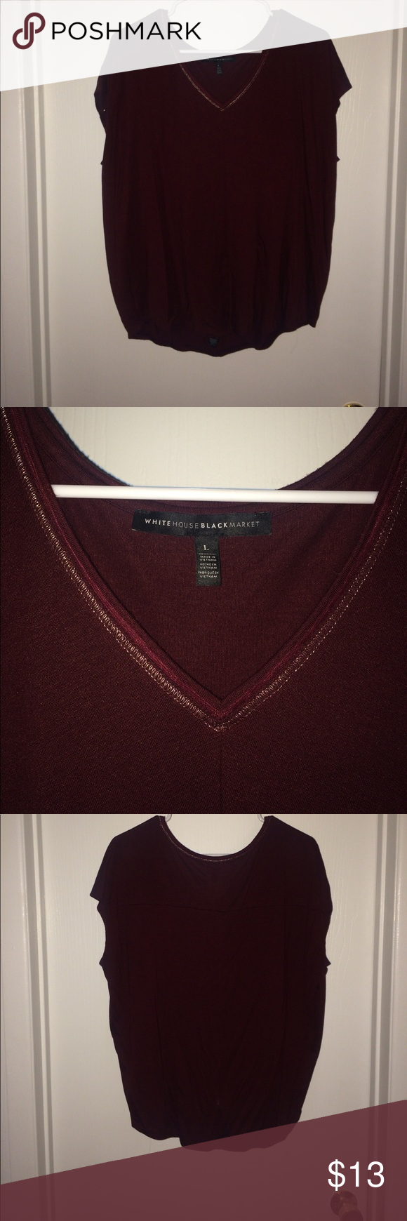Maroon soft tee with gold stitch Maroon tee with short cut sleeves and gold stitching around the neckline. Size large. From White House black market. White House Black Market Tops Tees - Short Sleeve