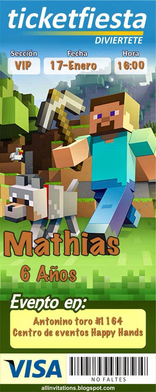 Tarjeta De Invitación Minecraft Invitaciones De Minecraft