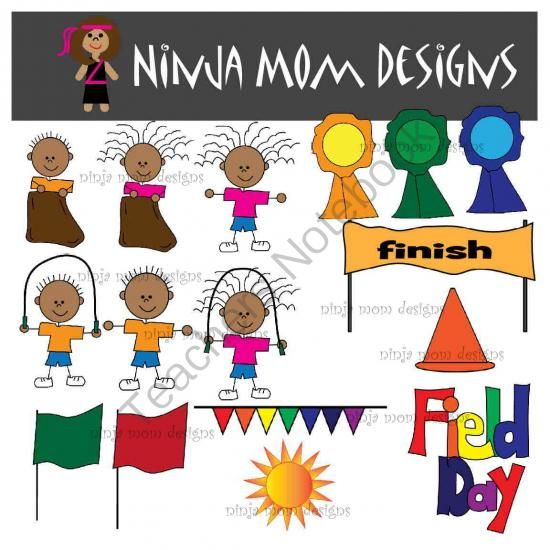 Field Day Clip Art In Color And Black Line From Ninja Mom Designs On Teachersnotebook Com 29 Pages Kids Enjoying The Outside A Clip Art Mom Design Art