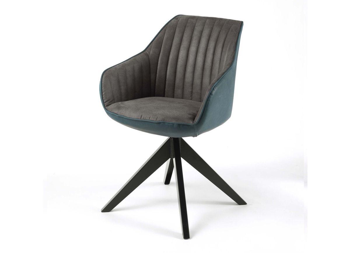 Deco Belle Chaise Confortable En Tissu Coloris Anthracite Et Simili Cuir Coloris Vintage Petrol