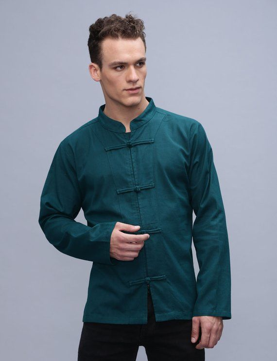 e4314aead8 Mens full sleeve Chinese style shirt - Cotton Ethnic Kurta Hippie Plain  marshal arts - Assorted col