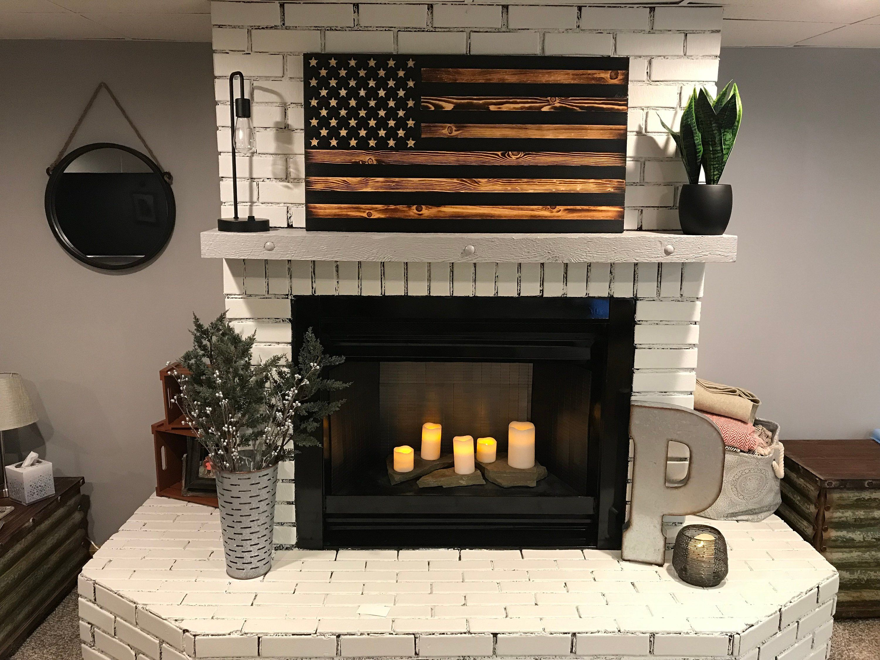 The Rustic American Wooden Flag Charred Black Stripes