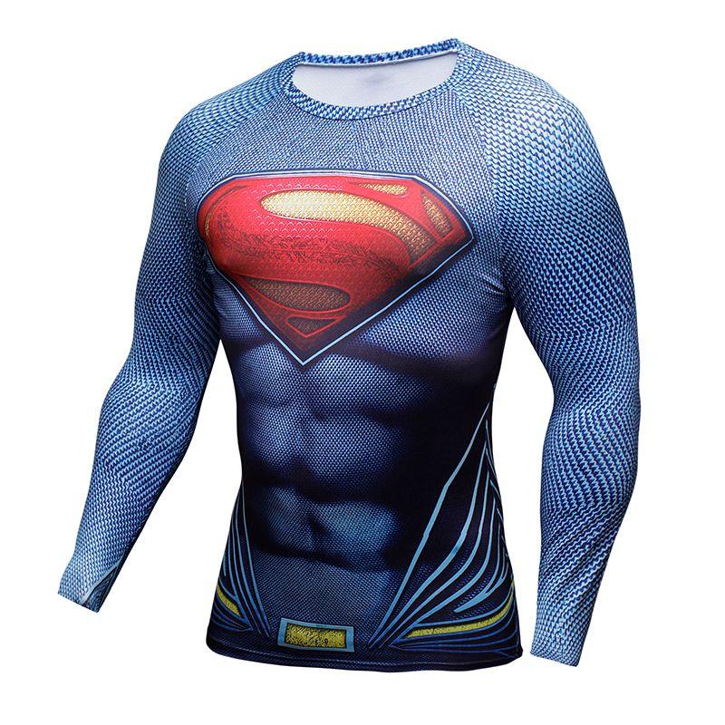 Compression Shirt Batman VS Superman 3D Printed T-shirts Men Raglan Long  Sleeve Cosplay Costume Fit Clothing Fitness Tops Male f9198bb25d3ff