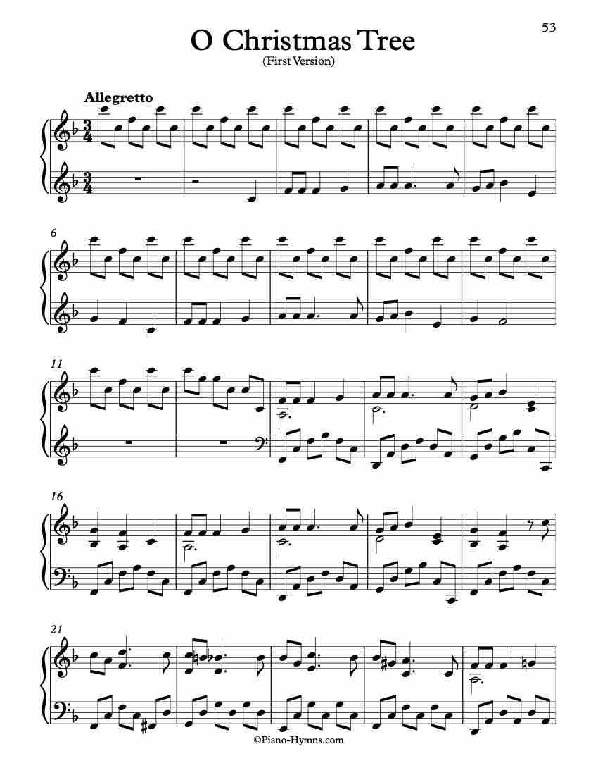 Free Piano Arrangement Sheet Music O Christmas Tree in