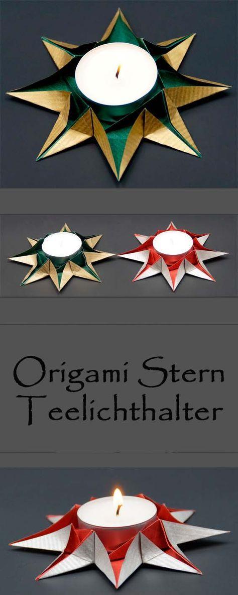 origami sterne teelichthalter falten zu weihnachten weihnachtsdeko selber basteln mit papier. Black Bedroom Furniture Sets. Home Design Ideas