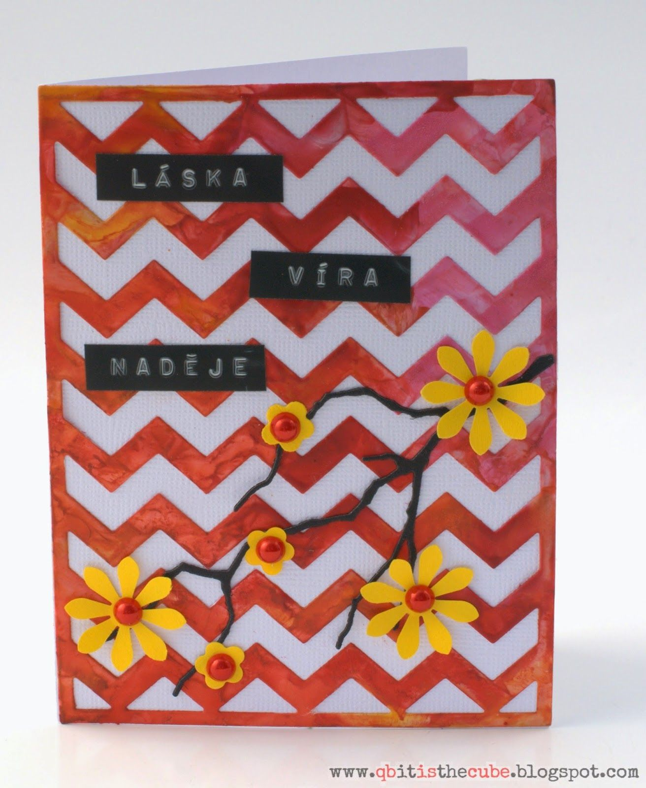 wish card - chevron background with encaustic technique, words - love,  faith, hope