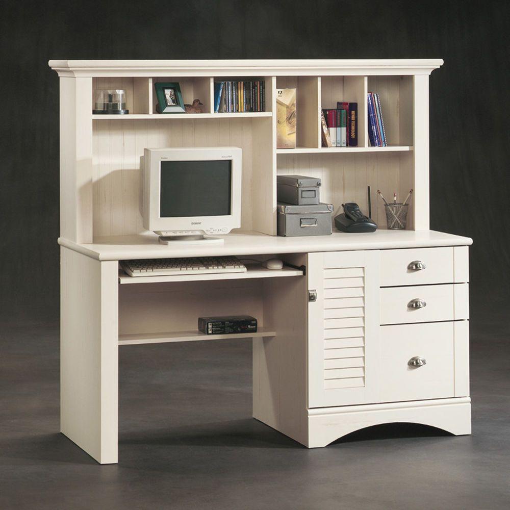 Пин на доске Library Room, Sauder Antique White Desk With Hutch