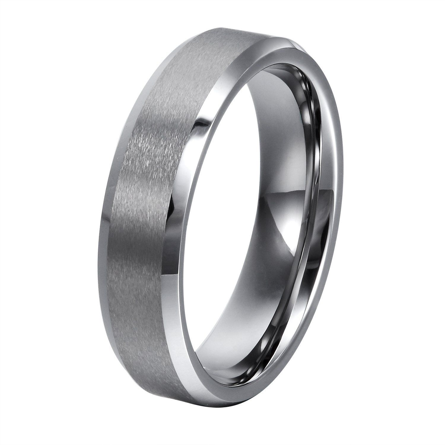 Will Queen Beveled Tungsten Carbide Rings With Matte Center Mens Womens Comfort Fit Wedding Bands Highly Durable Unique Promise For S Engagement
