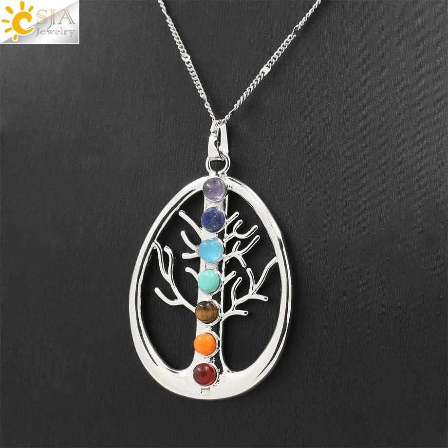 Csja 2 pcs símbolos saúde amuleto árvore da vida 7 Chakra Reiki colar de  pingente de bc087bb42db
