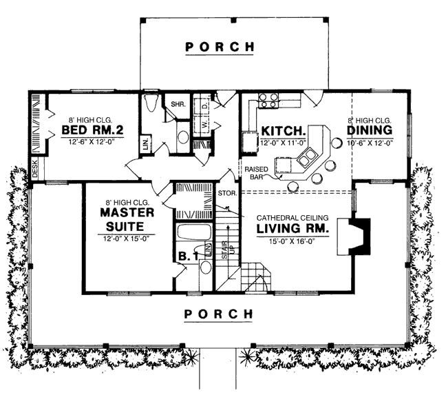 Country Style House Plan 3 Beds 2 Baths 1250 Sq Ft Plan 40 103 Two Bedroom House Country Style House Plans Bedroom House Plans