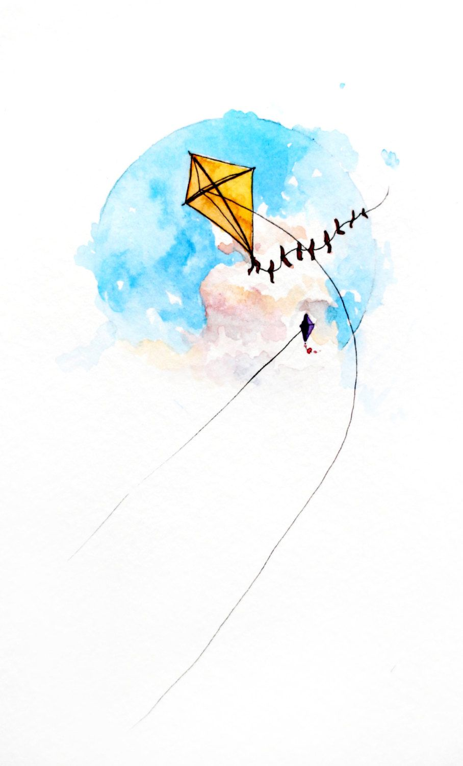 Children Illustration The Kite Watercolor Painting Etsy
