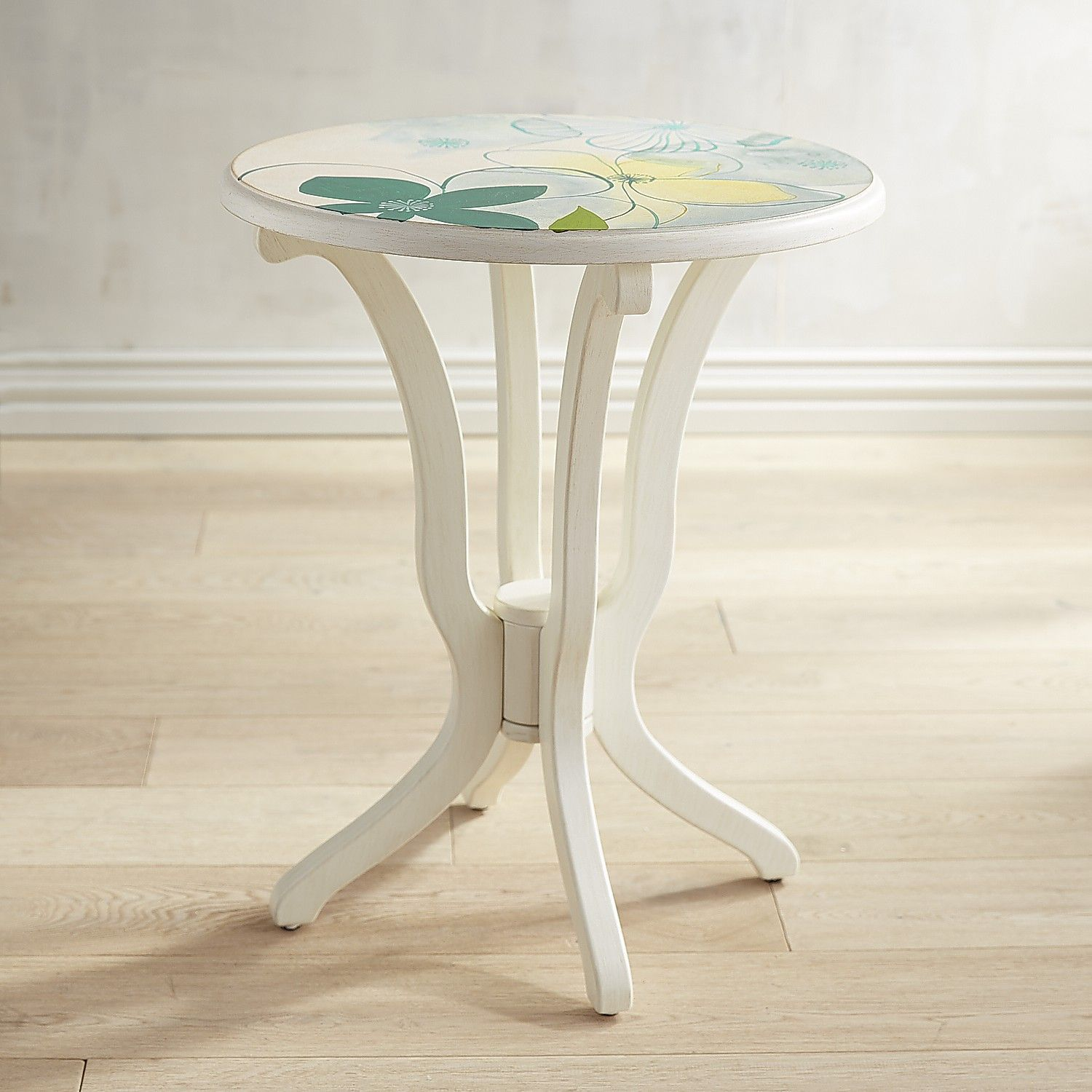 Daffodil Blue Floral White Accent Table