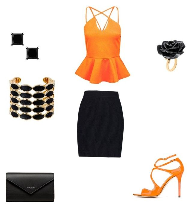 """""""Orange"""" by monalizaaaa ❤ liked on Polyvore featuring beauty, Boohoo, Helmut Lang, Jimmy Choo, Balenciaga, Nach Bijoux and House of Harlow 1960"""