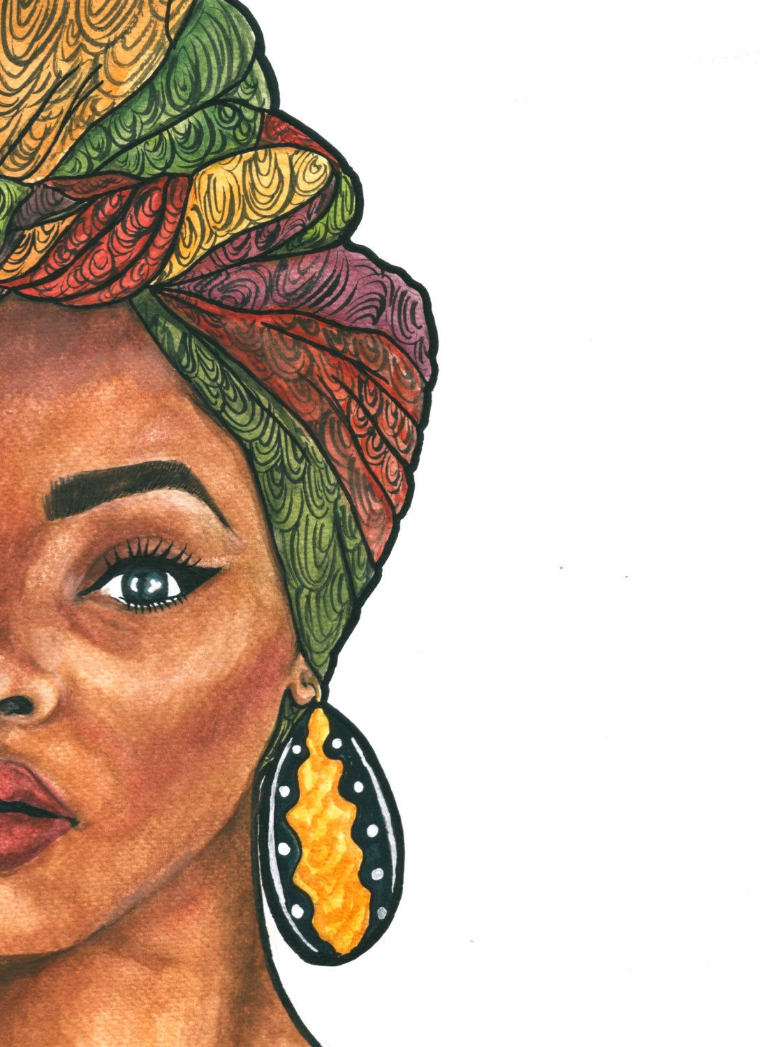 Duku Queen WATERCOLOUR PRINT Female art, Black girl art