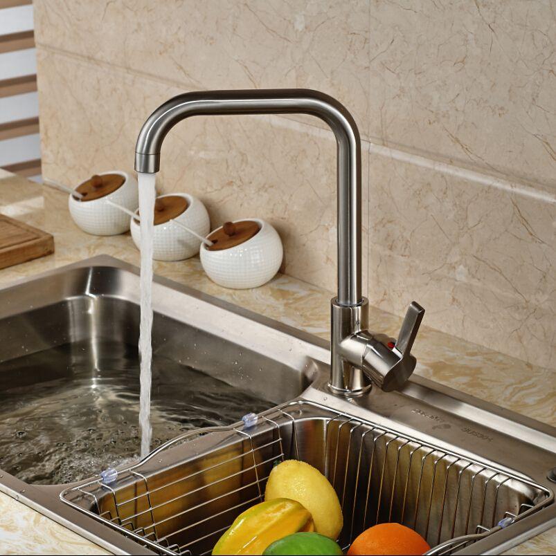 Deck Mount Single Lever Kitchen Mixer Water Faucet Brushed Nickel ...