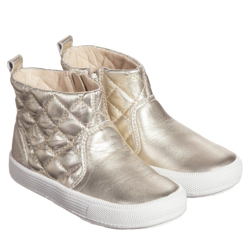Girls Gold Quilted Leather Ankle Boots | Quilted leather, Boots ...