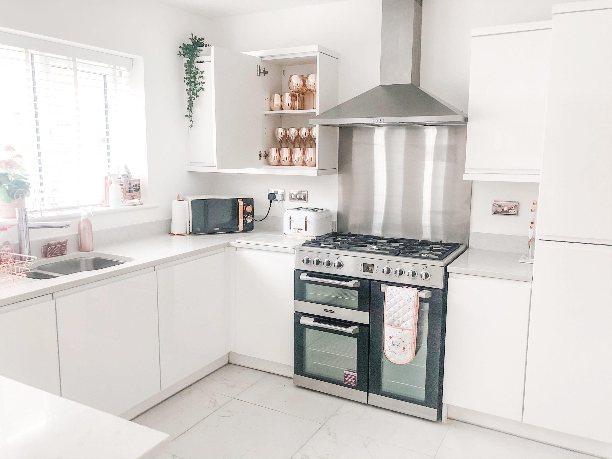 White kitchen, rose gold kitchen, copper kitchen, white interior