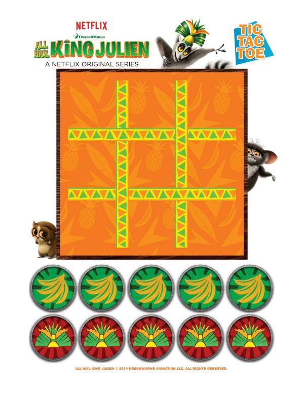 All Hail King Julien Printable Tic Tac Toe Game Printable Coloring