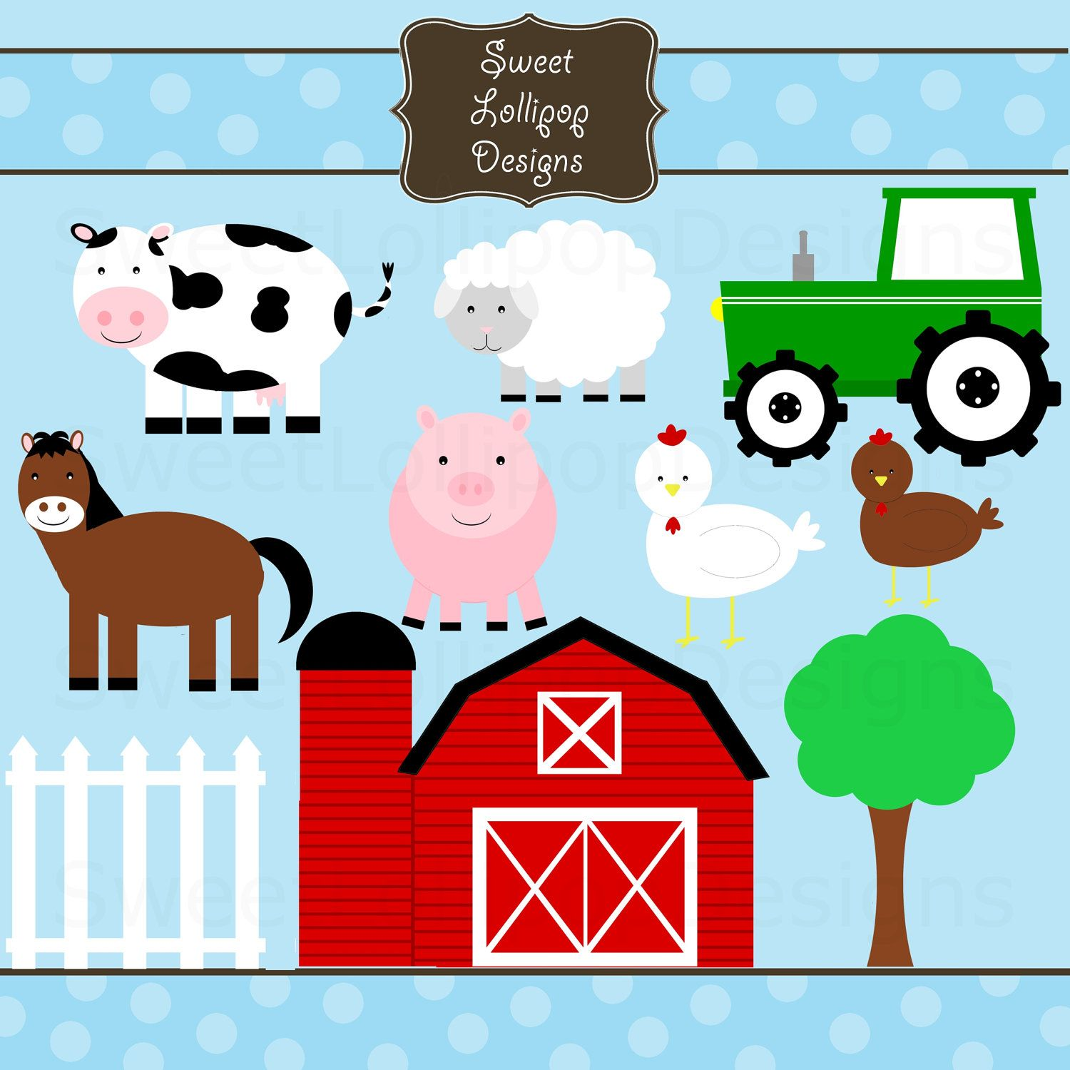 Farm Animal Free Printables Farm Animals Digital Clip Art Clipart Commercial And Personal Use