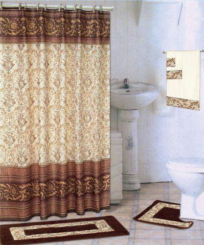 Coffee 18 Piece Bathroom Set 2 Rugs Mats 1 Fabric Shower