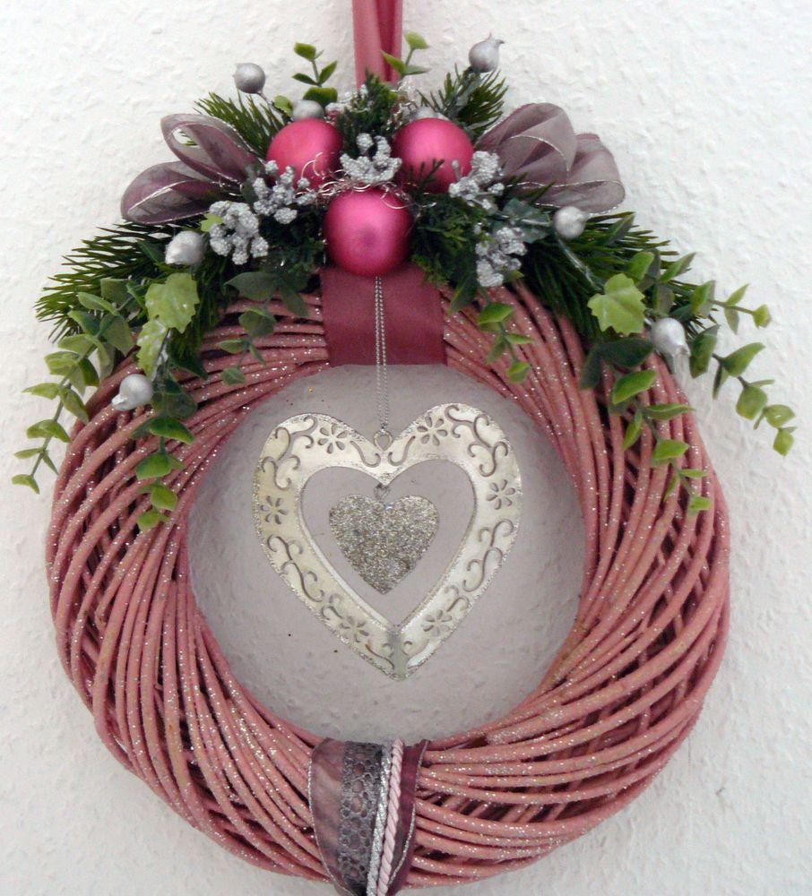 t rkranz weidenkranz mit glitter rosa weihnachtskranz. Black Bedroom Furniture Sets. Home Design Ideas