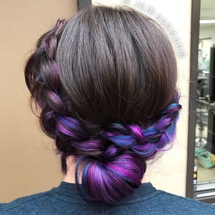 Galaxy purple blue and pink balayage underlights in a Dutch crown braided updo,  #Balayage #blue #braided #Crown #Dutch #Galaxy #Pink #purple #underlights #UnderlightsHairblack #updo