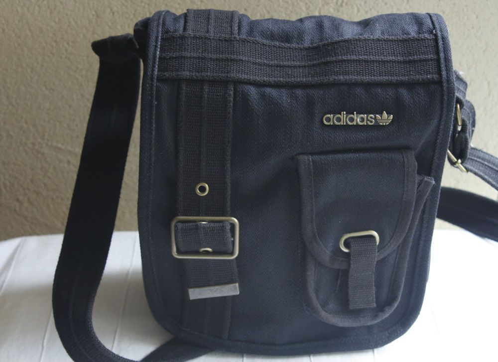 adidas Cotton Canvas Messenger Bag Cross Body Black Cell Pocket Velcro  Closure  71d1ca901df87