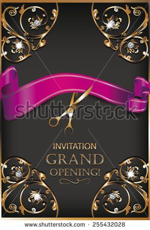 Grand opening invitation gold card with scissors,red ribbon ans - best of invitation card sample for inauguration