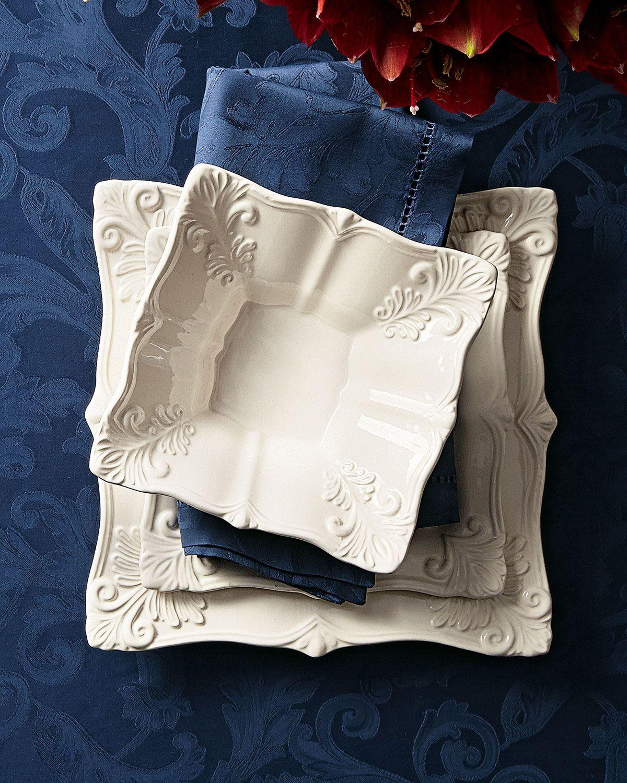 12-Piece White Square Baroque Dinnerware Service & 12-Piece White Square Baroque Dinnerware Service | Dinnerware ...