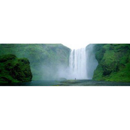Skogafoss Falls Skogar River Iceland Canvas Art - Panoramic Images (36 x 12)