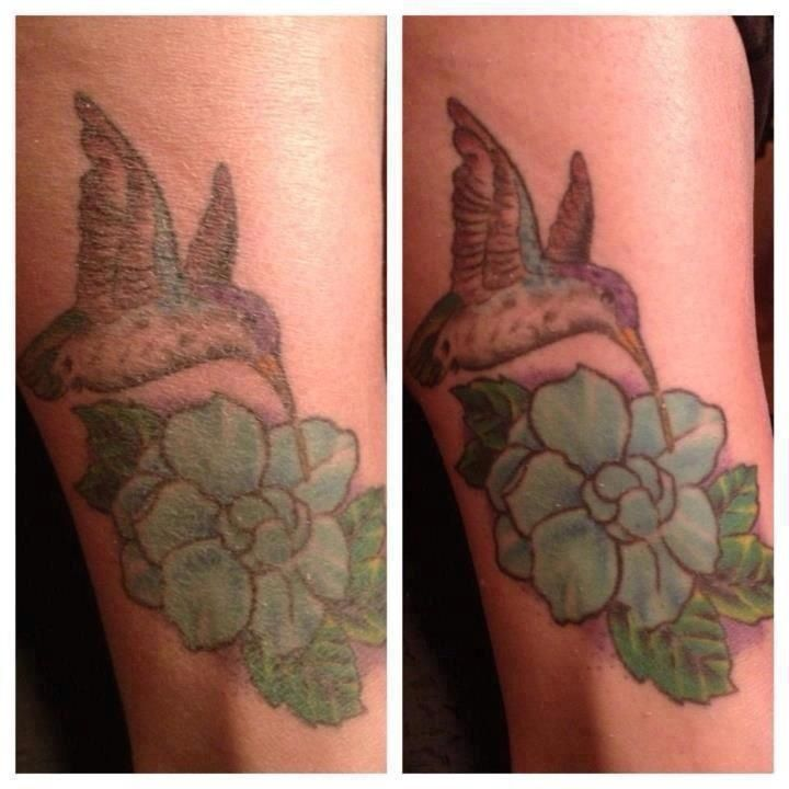 Before using the mineral rich peeling gel on the tattoo